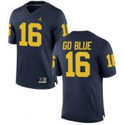 Wholesale Cheap Men's Michigan Wolverines #16 GO BLUE Navy Blue Stitched College Football Brand Jordan NCAA Jersey