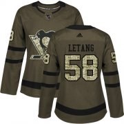 Wholesale Cheap Adidas Penguins #58 Kris Letang Green Salute to Service Women's Stitched NHL Jersey