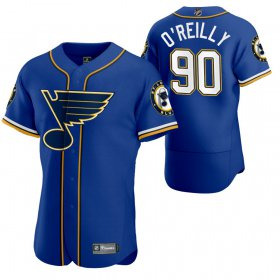 Wholesale Cheap St. Louis Blues #90 Ryan O\'Reilly Men\'s 2020 NHL x MLB Crossover Edition Baseball Jersey Blue