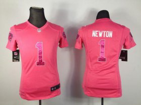 Wholesale Cheap Nike Panthers #1 Cam Newton Pink Sweetheart Women\'s Stitched NFL Elite Jersey