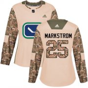 Wholesale Cheap Adidas Canucks #25 Jacob Markstrom Camo Authentic 2017 Veterans Day Women's Stitched NHL Jersey