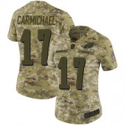Wholesale Cheap Nike Eagles #17 Harold Carmichael Camo Women's Stitched NFL Limited 2018 Salute to Service Jersey