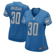 Wholesale Cheap Nike Lions #30 Jeff Okudah Light Blue Team Color Women's Stitched NFL Elite Jersey