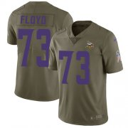 Wholesale Cheap Nike Vikings #73 Sharrif Floyd Olive Men's Stitched NFL Limited 2017 Salute to Service Jersey