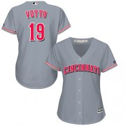 Wholesale Cheap Reds #19 Joey Votto Grey Road Women's Stitched MLB Jersey