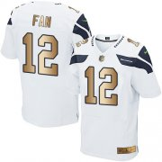 Wholesale Cheap Nike Seahawks #12 Fan White Men's Stitched NFL Elite Gold Jersey