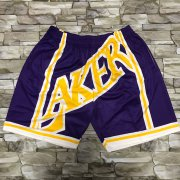 Wholesale Cheap Men's Los Angeles Lakers Purple Big Face Mitchell Ness Hardwood Classics Soul Swingman Throwback Shorts