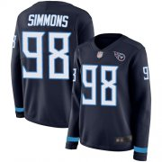 Wholesale Cheap Nike Titans #98 Jeffery Simmons Navy Blue Team Color Women's Stitched NFL Limited Therma Long Sleeve Jersey