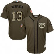 Wholesale Cheap Twins #13 Ehire Adrianza Green Salute to Service Stitched MLB Jersey