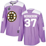 Wholesale Cheap Adidas Bruins #37 Patrice Bergeron Purple Authentic Fights Cancer Stanley Cup Final Bound Stitched NHL Jersey