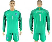 Wholesale Cheap Greece #1 Karnezis Green Goalkeeper Long Sleeves Soccer Country Jersey