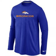 Wholesale Cheap Nike Denver Broncos Authentic Logo Long Sleeve T-Shirt Blue