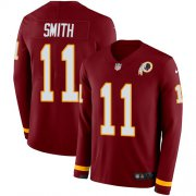 Wholesale Cheap Nike Redskins #11 Alex Smith Burgundy Red Team Color Men's Stitched NFL Limited Therma Long Sleeve Jersey