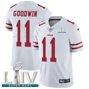 Wholesale Cheap Nike 49ers #11 Marquise Goodwin White Super Bowl LIV 2020 Men's Stitched NFL Vapor Untouchable Limited Jersey