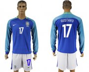 Wholesale Cheap Brazil #17 Gustavo Away Long Sleeves Soccer Country Jersey