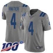 Wholesale Cheap Nike Colts #4 Adam Vinatieri Gray Men's Stitched NFL Limited Inverted Legend 100th Season Jersey
