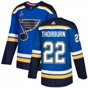 Wholesale Cheap Adidas Blues #22 Chris Thorburn Blue Home Authentic 2019 Stanley Cup Champions Stitched NHL Jersey
