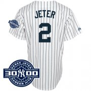 Wholesale Cheap Yankees #2 Derek Jeter White With W/3000 Hits Patch(Have Name On Back) Stitched MLB Jersey