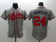 Wholesale Cheap Braves #24 Deion Sanders Grey Flexbase Authentic Collection Stitched MLB Jersey
