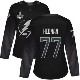 Cheap Adidas Lightning #77 Victor Hedman Black Alternate Authentic Women\'s 2020 Stanley Cup Champions Stitched NHL Jersey