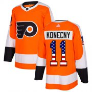 Wholesale Cheap Adidas Flyers #11 Travis Konecny Orange Home Authentic USA Flag Stitched Youth NHL Jersey