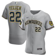 Wholesale Cheap Milwaukee Brewers #22 Christian Yelich Men's Nike Gray Road 2020 Authentic Player MLB Jersey