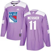Wholesale Cheap Adidas Rangers #11 Mark Messier Purple Authentic Fights Cancer Stitched Youth NHL Jersey