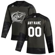 Wholesale Cheap Columbus Blue Jackets Adidas 2019 Veterans Day Authentic Custom Practice NHL Jersey Camo
