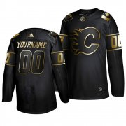 Wholesale Cheap Adidas Flames Custom Men's 2019 Black Golden Edition Authentic Stitched NHL Jersey