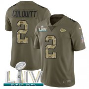 Wholesale Cheap Nike Chiefs #2 Dustin Colquitt Olive/Camo Super Bowl LIV 2020 Youth Stitched NFL Limited 2017 Salute To Service Jersey