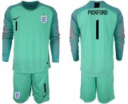Wholesale Cheap England #1 Pickford Green Long Sleeves Goalkeeper Soccer Country Jersey
