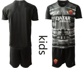 Wholesale Cheap Roma Blank Black Goalkeeper Kid Soccer Club Jersey