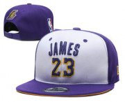 Wholesale Cheap Men's Los Angeles Lakers #23 LeBron James Purple With White Snapback Ajustable Cap Hat