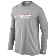 Wholesale Cheap Nike Houston Texans Authentic Font Long Sleeve T-Shirt Grey