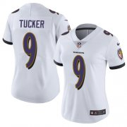 Wholesale Cheap Nike Ravens #9 Justin Tucker White Women's Stitched NFL Vapor Untouchable Limited Jersey