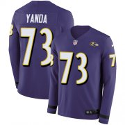 Wholesale Cheap Nike Ravens #73 Marshal Yanda Purple Team Color Men's Stitched NFL Limited Therma Long Sleeve Jersey