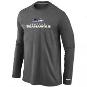 Wholesale Cheap Nike Seattle Seahawks Authentic Logo Long Sleeve T-Shirt Dark Grey