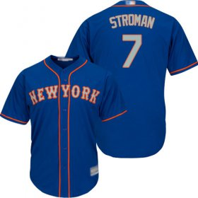 Wholesale Cheap Mets #7 Marcus Stroman Blue(Grey NO.) New Cool Base Stitched MLB Jersey