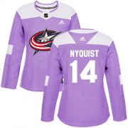 Wholesale Cheap Adidas Blue Jackets #14 Gustav Nyquist Purple Authentic Fights Cancer Women's Stitched NHL Jersey