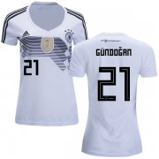 Wholesale Cheap Women's Germany #21 Gundogan White Home Soccer Country Jersey