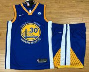 Wholesale Cheap Men's Golden State Warriors #30 Stephen Curry Blue 2017-2018 Nike Swingman Rakuten Stitched NBA Jersey With Shorts