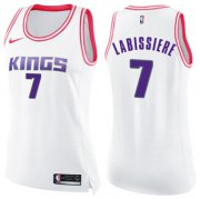 Wholesale Cheap Women's Sacramento Kings #7 Skal Labissiere White Pink NBA Swingman Fashion Jersey