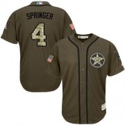 Wholesale Cheap Astros #4 George Springer Green Salute to Service Stitched Youth MLB Jersey