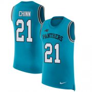 Wholesale Cheap Nike Panthers #21 Jeremy Chinn Blue Alternate Men's Stitched NFL Limited Rush Tank Top Jersey