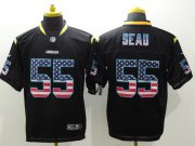 Wholesale Cheap Nike Chargers #55 Junior Seau Black Men's Stitched NFL Elite USA Flag Fashion Jersey