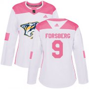 Wholesale Cheap Adidas Predators #9 Filip Forsberg White/Pink Authentic Fashion Women's Stitched NHL Jersey