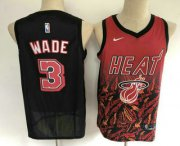 Wholesale Cheap Men's Miami Heat #3 Dwyane Wade Red with Black Salute Nike Swingman Stitched NBA Jersey
