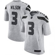 Wholesale Cheap Nike Seahawks #3 Russell Wilson Gray Men's Stitched NFL Limited Gridiron Gray II Jersey