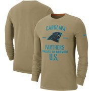 Wholesale Cheap Men's Carolina Panthers Nike Tan 2019 Salute to Service Sideline Performance Long Sleeve Shirt