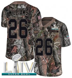 Wholesale Cheap Nike Chiefs #26 Damien Williams Camo Super Bowl LIV 2020 Youth Stitched NFL Limited Rush Realtree Jersey